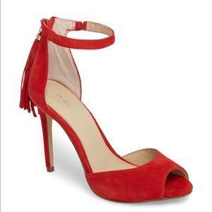 NEW Botkier Anna Fringe Sandals in Poppy Red Suede